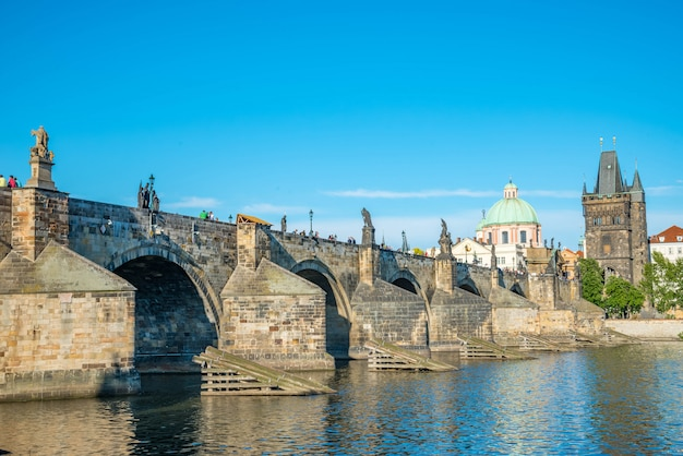 Charles bridge in prague, czech republic on a sunny day