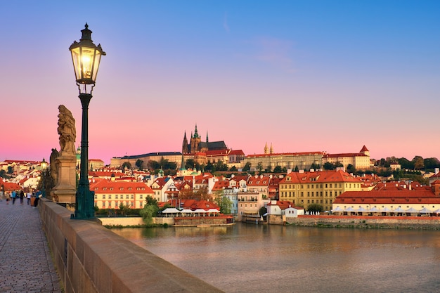 Charles bridge with old prague and st. vitus cathedral