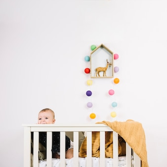 Charming baby in cradle