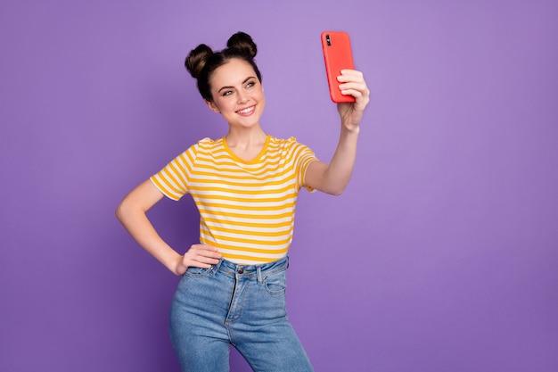 Charming blogger girl make cellphone selfie toothy beaming smile