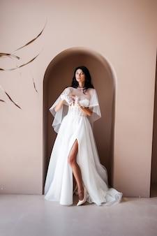 Charming bride dressed in a wedding dress