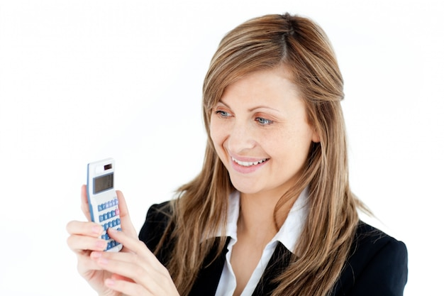 Charming businesswoman holding a calculator