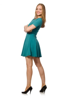 Charming caucasian woman wearing green dress isolated