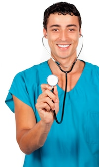 Charming doctor holding a stethoscope