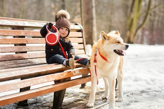 Charming little boy holds on the leash Akita-inu dog sitting on the bench in park