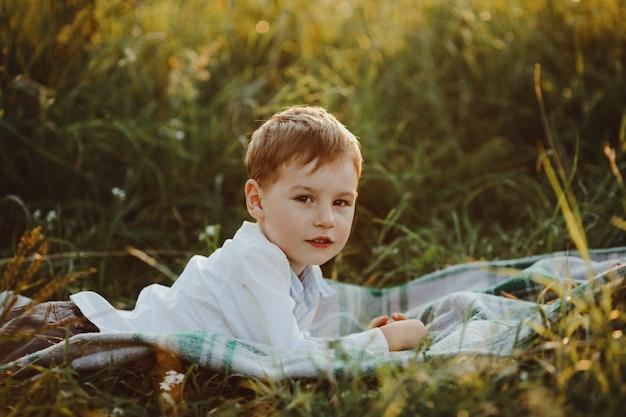 Charming little boy lies on the green lawn and enjoys beautiful