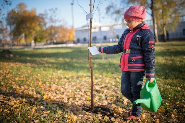 Charming little smiling girl planted a tree in the park during an autumn walk. the concept of caring for the future of ecology and the planet
