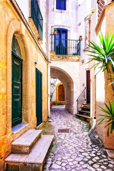 풀 리아, 이탈리아의 올드 타운 오트 란 토의 매력적인 좁은 거리