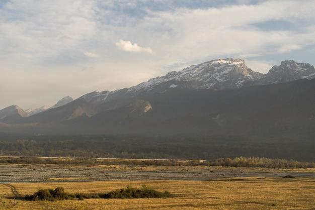 魅力的な自然と風景、白い雪に覆われた山と丘、果てしなく続く黄色い畑