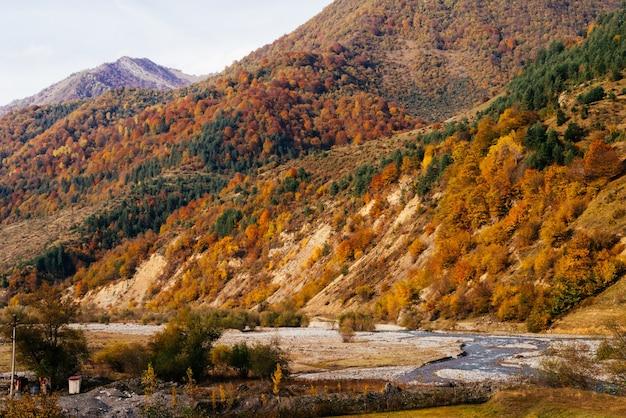 Очаровательная природа, величественные горы и холмы, покрытые зелеными и желтыми деревьями, осенняя природа.