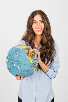 Charming woman with soft globe