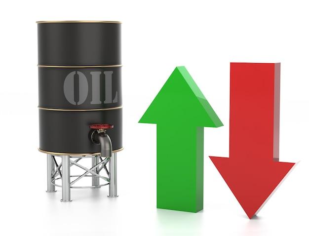 上昇する石油価格のチャート...白で隔離。 3dレンダリング