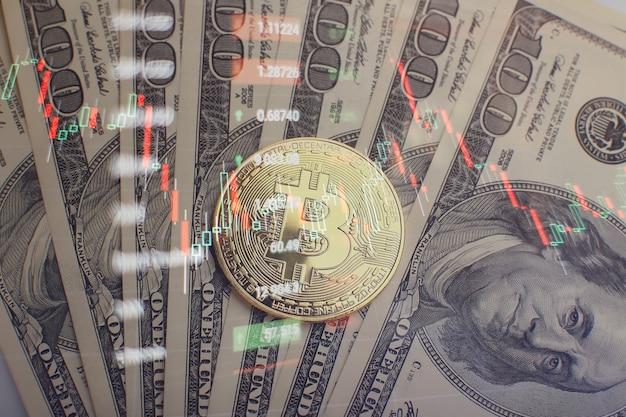 График показывает сильный рост цены биткойна. инвестирование в виртуальные активы. инвестиционная платформа с графиками и биткойн-монетой.