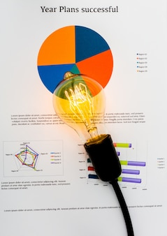 Charts with a light bulb on top