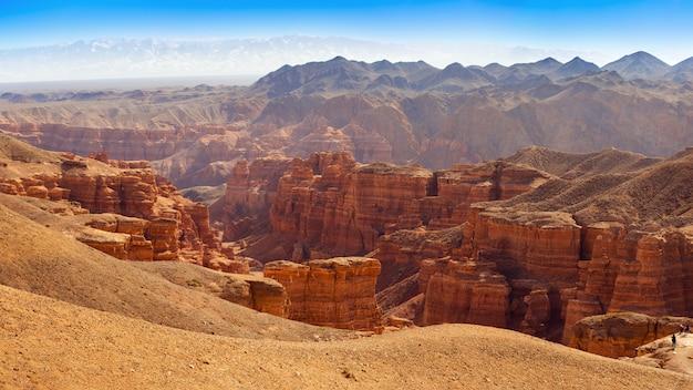 Charyn canyon in almaty region of kazakhstan. beautiful mountain landscape.