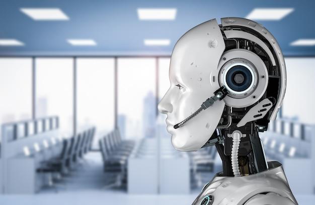 Концепция чат-бота с 3d-рендерингом гуманоидного робота с гарнитурой в офисе