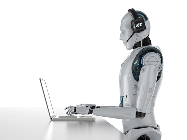 Chat bot concept with 3d rendering humanoid robot with headset work on computer notebook