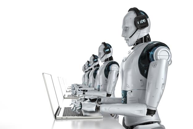 Концепция чат-бота с 3d-рендерингом гуманоидного робота с гарнитурой работает на компьютерном ноутбуке