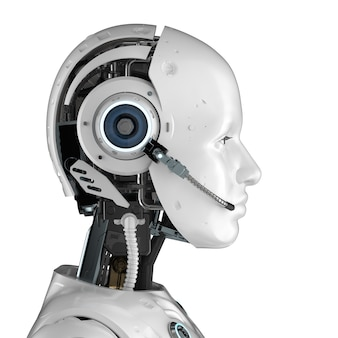 Концепция чат-бота с 3d-рендерингом гуманоидного робота с гарнитурой