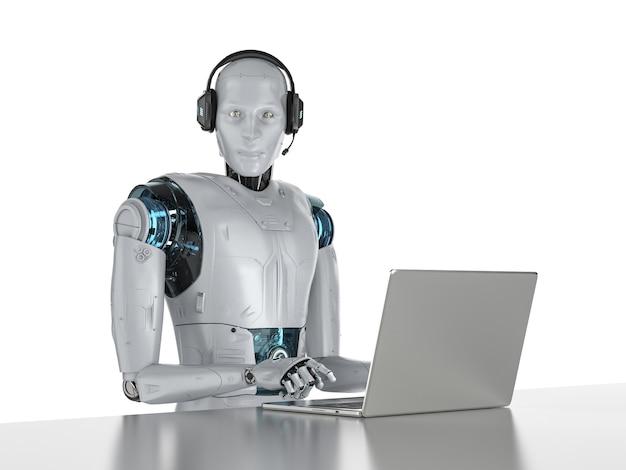 Концепция чат-бота с роботом с гарнитурой работает на компьютерном ноутбуке