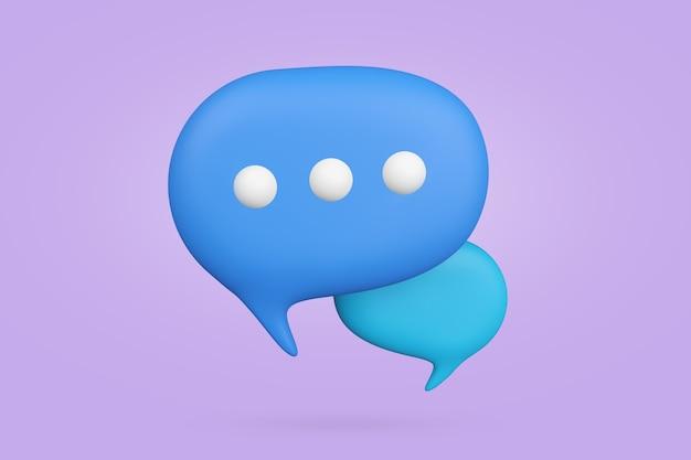 Чат пузырь символ 3d визуализации. иллюстрация символа связи с копией пространства. речевой баллон для сообщения.