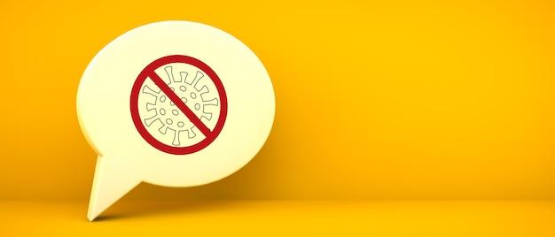 コロナウイルス2019とチャットアイコン-黄色の背景の3dレンダリングでncov警告