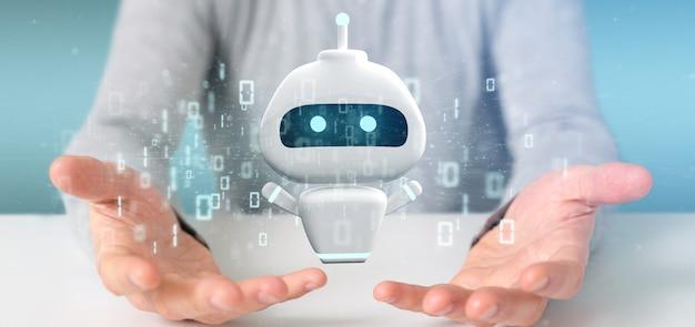 Chatbotのバイナリコード3 dレンダリングを保持している実業家