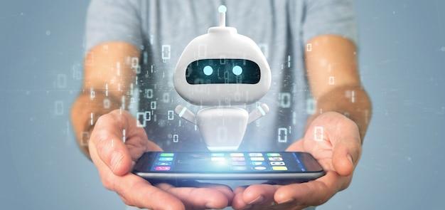 Бизнесмен держа chatbot с переводом двоичного кода 3d