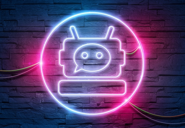 Chatbot neon icon on a brick wall