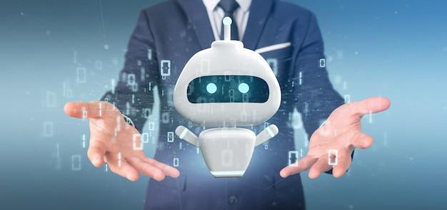 Бизнесмен, холдинг chatbot с двоичным кодом