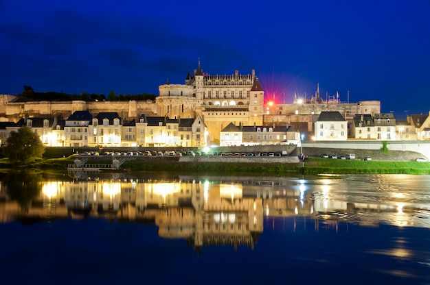Chateau d'amboise and reflections by night