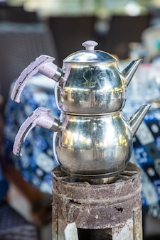 Chaydanlik or caydanlik is turkish authentic double teapot for cooking tea in restaurant