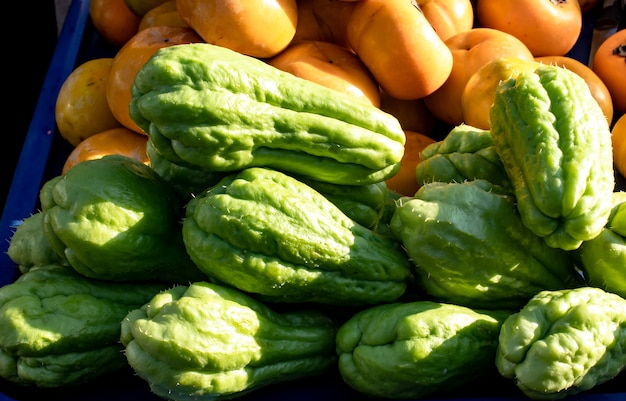 Chayote and persimmon , fresh from the garden. Premium Photo