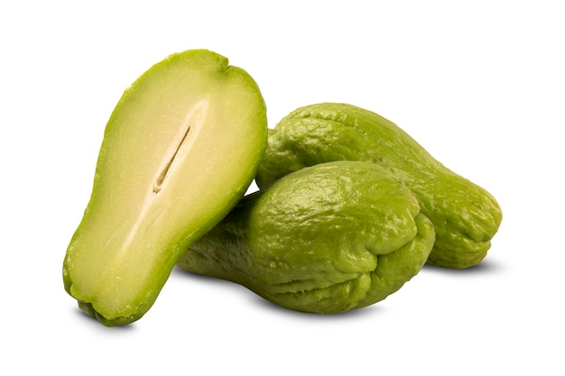 The chayote (sechium edule) is a vegetable native to south america. fresh vegelable.