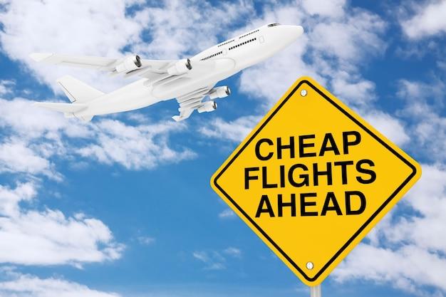 푸른 하늘 배경에 흰색 제트 여객기의 비행기가 있는 교통 표지 앞의 저렴한 항공편. 3d 렌더링