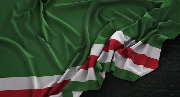Чеченская республика ичкерия флаг морщинистый на темном фоне 3d render