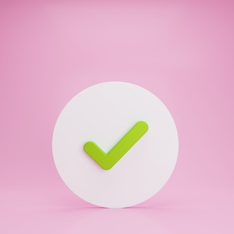 Check button on the floor with pink background