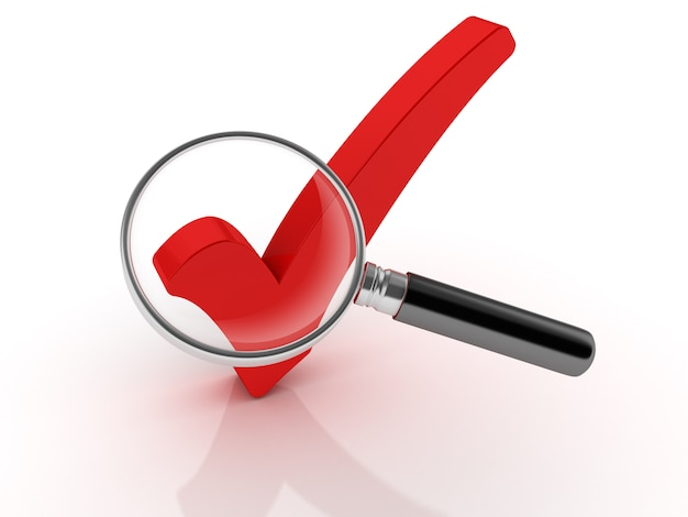 Check mark with magnifying glass