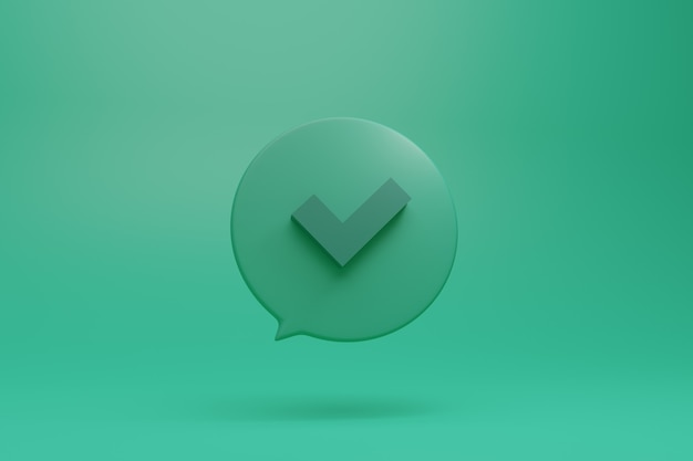 Check, ok, done, deal mark symbol in 3d style illustration in green tones in dialog box