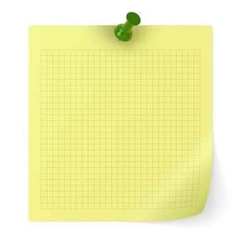 Checked note paper and thumbtack isolated on white background - 3d illustration