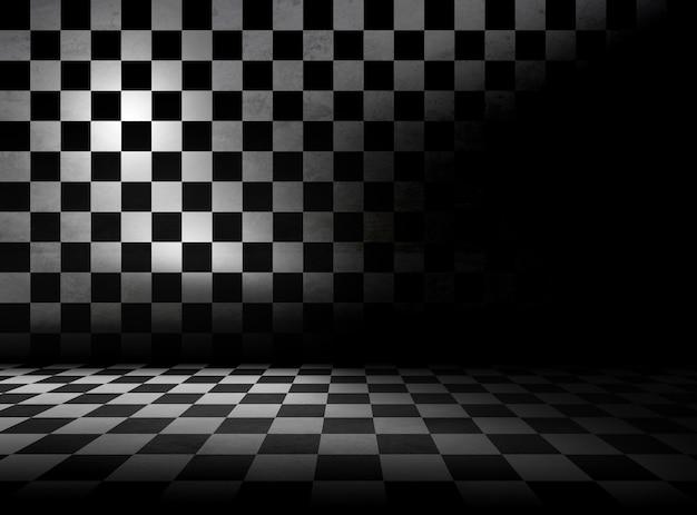 部屋のチェッカーの床と壁のパターン。グランジ空のインテリアデザイン