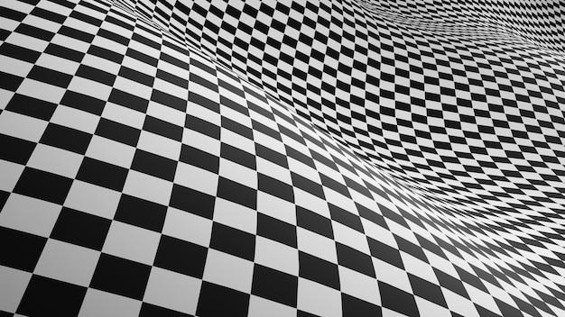 チェッカーの抽象的な背景黒と白の正方形の目の錯覚の背景。3dレンダリング