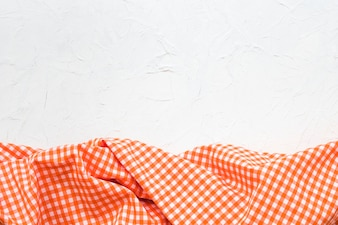 Checkered cloth on white background