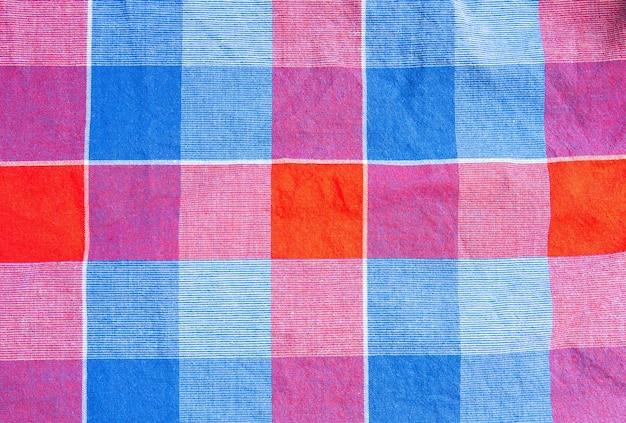 체크 무늬 천 질감입니다. 섬유에 사각형입니다. 천연 직물 배경입니다.
