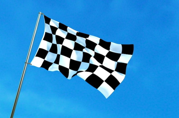 Checkered flag waving on the blue sky background
