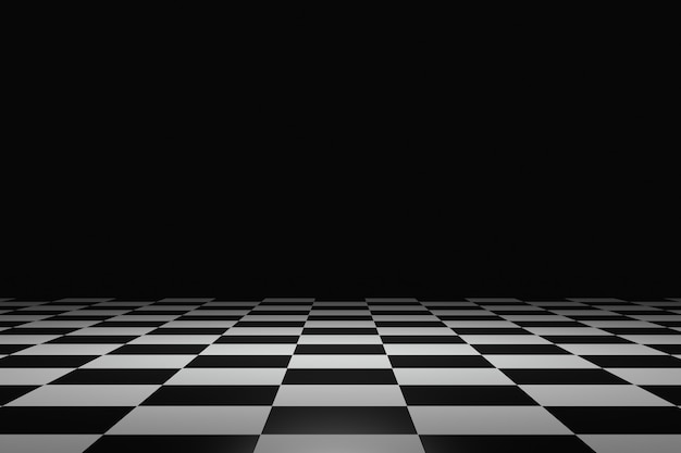 Checkered pattern flooring and abstract product background on dark room pedestal or stage podium with backdrops display. 3d rendering.