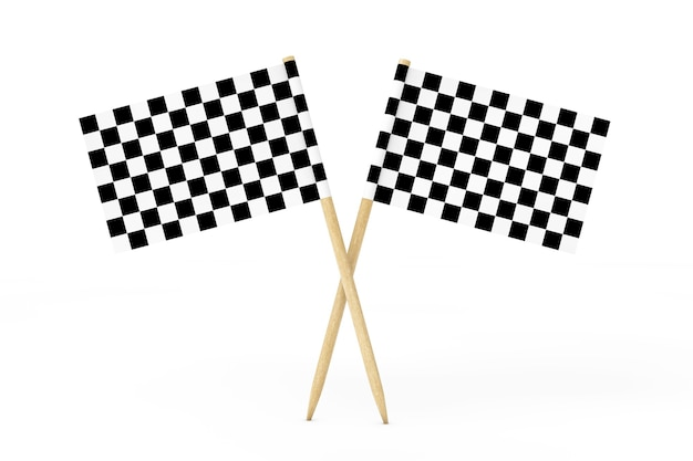Checkered racing flags on a white background. 3d rendering.