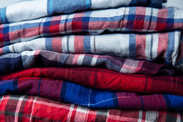 Checkered shirts stack