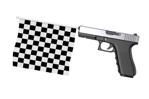 Checkered start and finish flag comming out from modern gun on a white background. 3d rendering