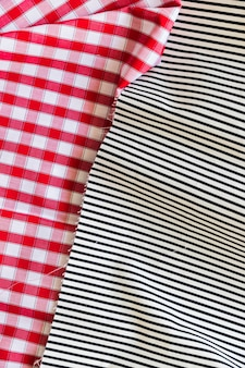 Checkered and striped textured fabric backdrop